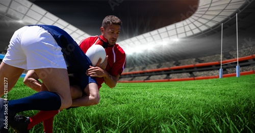 Composition of two rugby players at rugby stadium
