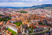 Panoramic Aerial View Of Oviedo City Surrounded By Mountain Ranges On Sunny Summer Day, Asturias, Spain