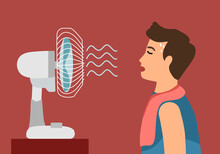 Sweaty Man With Electric Fan Blowing In Flat Design. Guy Exhausted Of Hot Summer Day. Tired Male Need Wind Blow.