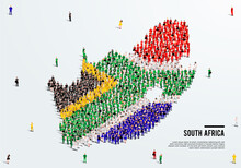 South Africa Map And Flag. A Large Group Of People In The South African Flag Color Form To Create The Map. Vector Illustration.