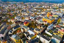 Panoramic Aerial View Of Autumn Landscape Of Czech City Of Jablonec Nad Nisou, Liberec Region