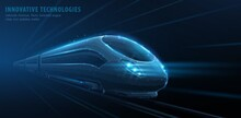 Fast Move Of Express Passenger Train On High Speed Intercity Railway. Isolated On Blue. Futuristic Technology. Future Digital Urban Infrastructure. Modern Technology.