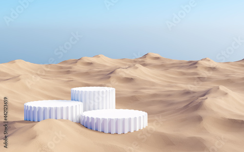 Foto Surreal desert landscape with white arch constructions in perspective