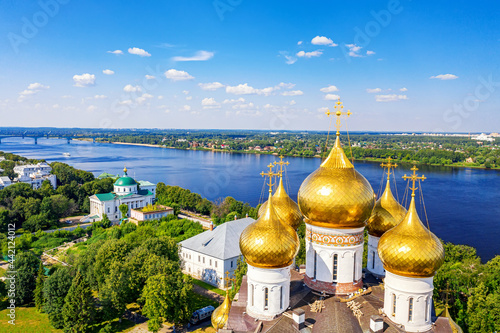 Vászonkép Aerial drone view of Assumption Cathedral and river Kotorosl in summer