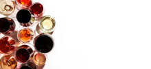 Red, Rose And White Wine In Glasses On White Background, Top View. Wine Bar, Shop, Winery, Wine Tasting Concept. Hard Light And Harsh Shadows