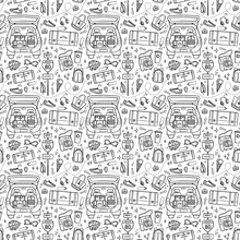 Travel And Vacation Seamless Pattern With Travel Elements. Seamless Pattern For Design, Posters, Backgrounds Vacation And Trip Theme. Car, Suitcase, Camera In Line Style.