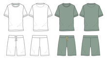 Basic Set T Shirt And Shorts Technical Fashion Sketch Vector Template Isolated On White Background Front And Back View. Vector Art Drawing Illustration Eps 10. Men's Apparel Design.