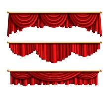 Red Curtains. Realistic Luxury Curtain Cornice Set. Interior Drapery Textile, Silk Or Velvet Scene Decoration. Theatre Or Circus Fabric Portiere Design. Vector Isolated On White Objects