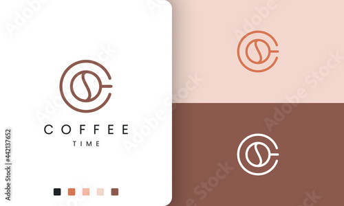 Fotografie, Obraz coffee mug logo in modern and simple shape