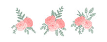 Set Of Hand Drawn Bunches Of Flowers. Vector Illustration. Wedding Floristry Design Element