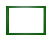 Green Wooden Photo Frame With Empty Copy Space Isolated On White. Green Wooden Frame On  Isolated On The White Background. Frame Ideal For Advertisement Background And Photography