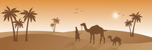 People And Camel Walking On Desert, Silhouette Style, Beautiful Sunlight, Palm Tree, Islamic Web Banner Background Vector Graphic