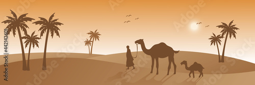 Canvastavla people and camel walking on desert, silhouette style, beautiful sunlight, palm t