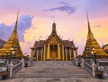 Wat Phra Kaew In Twilight, Temple Of The Emerald Buddha Wat Phra Kaew Is One Of Bangkok's Most Famous Tourist Sites And It Was Built In 1782.