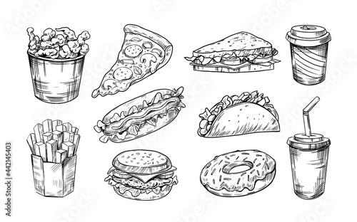 Obraz na plátně Vector set of fast food