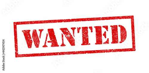 Vector illustration of the word Wanted in red ink stamps