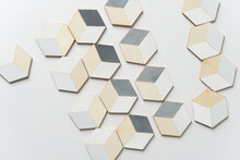 Trompe L'oeil Cubes Loosely Arranged On A White Background