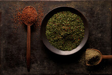 Natural Dry Seasonings For Cooking Food On Table