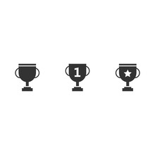 Trophy Cup With Number 1, One, Star Vector Icon