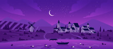 Night Town Or Village By Lake Landscape Vector Illustration. Cartoon Mountain Scenery With Moon In Purple Starry Sky, Boat On Calm Lake Waters, Mill On Summer Fields And Farm Houses Background