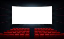 Movie Cinema Premiere Poster Design With White Screen. Cinema Screen. Movie Theater Vector Background.
