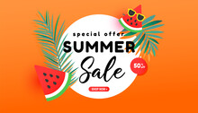 Summer Sale Banner In Trendy Style With Tropical Leaves And Flying Ripe Watermelon Slices In The Air On Bright Orange Background