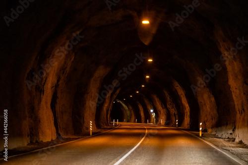 Slika na platnu Almannaskard or Almannaskardsgong tunnel inside dark view near Hofn, Iceland sou