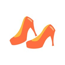 Red Whoman's Shoes On Stiletto Heel Flat Vector Icon Illustration