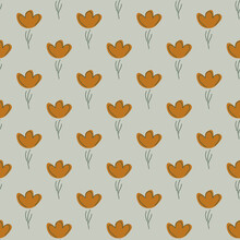 Nature Seamless Pattern With Brown Flowers Small Elements Shapes. Grey Background. Nature Ornament Print.
