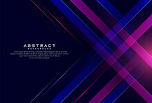 Abstract Dark Blue Pink Colour Geometric Pattern On Dark Background. Technology Diagonally Overlapped Geometric Squares Shape. Modern Simple Background Design. Vector Illustration
