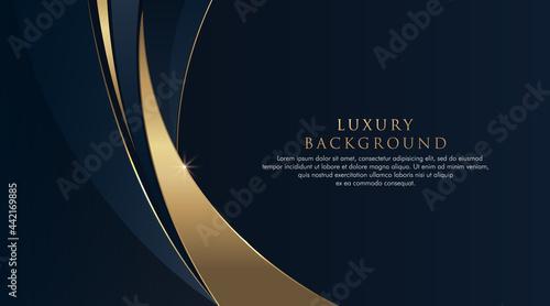 Billede på lærred Dark blue abstract curve background with glitter golden lines