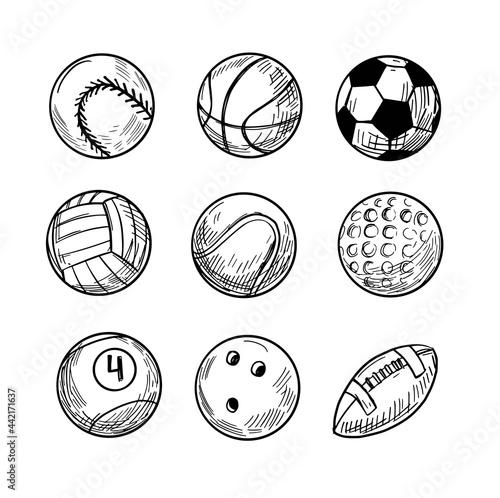 Wallpaper Mural Sport balls, vector sketch illustration, black isolated outline