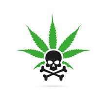 Green Cannabis Leaf With A Skull. Logo Or Emblem Concept. Vector, Illustration
