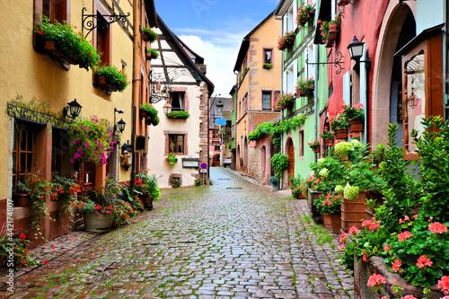 Quaint colorful cobblestone lane in the Alsatian town of Riquewihr, France Fototapeta
