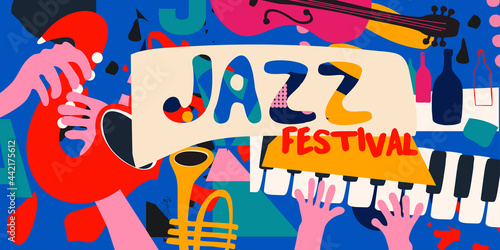 Fototapeta Jazz music promotional poster with musical instruments colorful vector illustration