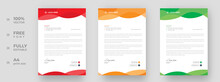 Corporate Modern Letterhead Design Template With Yellow, Green And Red Color. Creative Modern Letter Head Design Template For Your Project. Letterhead, Letter Head, Simple Letterhead Design.