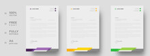 Corporate Modern Letterhead Design Template With Yellow, Purple And Green Color. Creative Modern Letter Head Design Template For Your Project. Letterhead, Letter Head, Simple Letterhead Design.