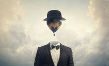 Head In The Clouds - Businessman With Hot Air Balloon For A Head