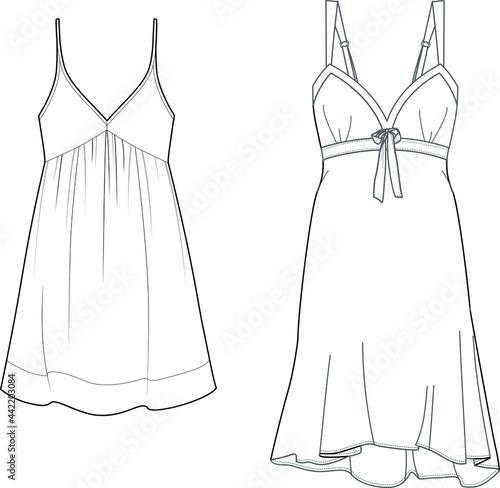Obraz na plátně Chemise dress sleepwear pajama technical fashion illustration.