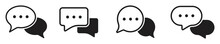 Chat Message Icon Set, Chat Speech Bubble, Social Media Message. Vector Illustration