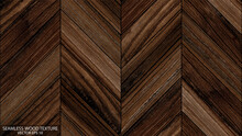 Seamless Parquet Floor With A Chevron Pattern. Brown Wooden Background, EPS 10 Vector. Old Wood Texture.