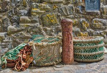 Lobster Pots And Tying Post, Clovelly, Devon, England