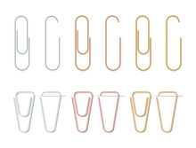Realistic Paper Clips Set. Silver,bronze And Gold Color. Paperclip Icon. Steel Stationery. Paper Clips Attached To A Sheet Of Paper. Vector Illustration On White Background.