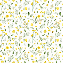 Botanical Yellow Flowers Seamless Pattern. Flowers On A White Background. Fresh Tender Design For Invitation, Wedding Or Greeting Cards, Textiles, Wrapping Paper