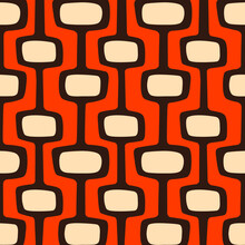 Mid-century Modern Atomic Age Background In Orange, Cream And Dark Brown. Ideal For Wallpaper And Fabric Design. Inspired By Atomic Age In Western Design.