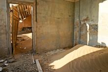 Interior Of Old Building In Abandoned Diamond Mining Town Of Kolmanskop (Kolmannskuppe), Namibia