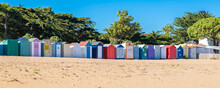 Wooden Beach Cabins On The Oleron Island In France, Colorful Huts