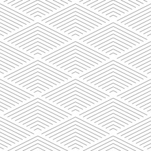 Thin Line Rectangular Scales. Vector Seamless Pattern In Black And White.