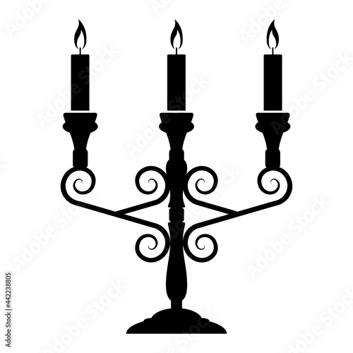 Leinwand Poster Three armed candlestick or candle holder, vector illustration