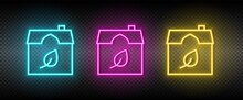 Real Estate Vector Eco, Ecology, House. Illustration Neon Blue, Yellow, Red Icon Set.